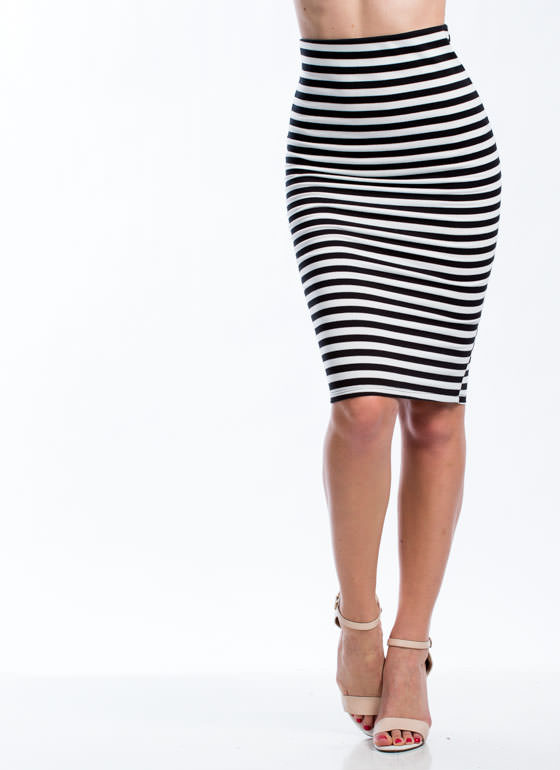 Stripe A Match Midi Pencil Skirt BLACK