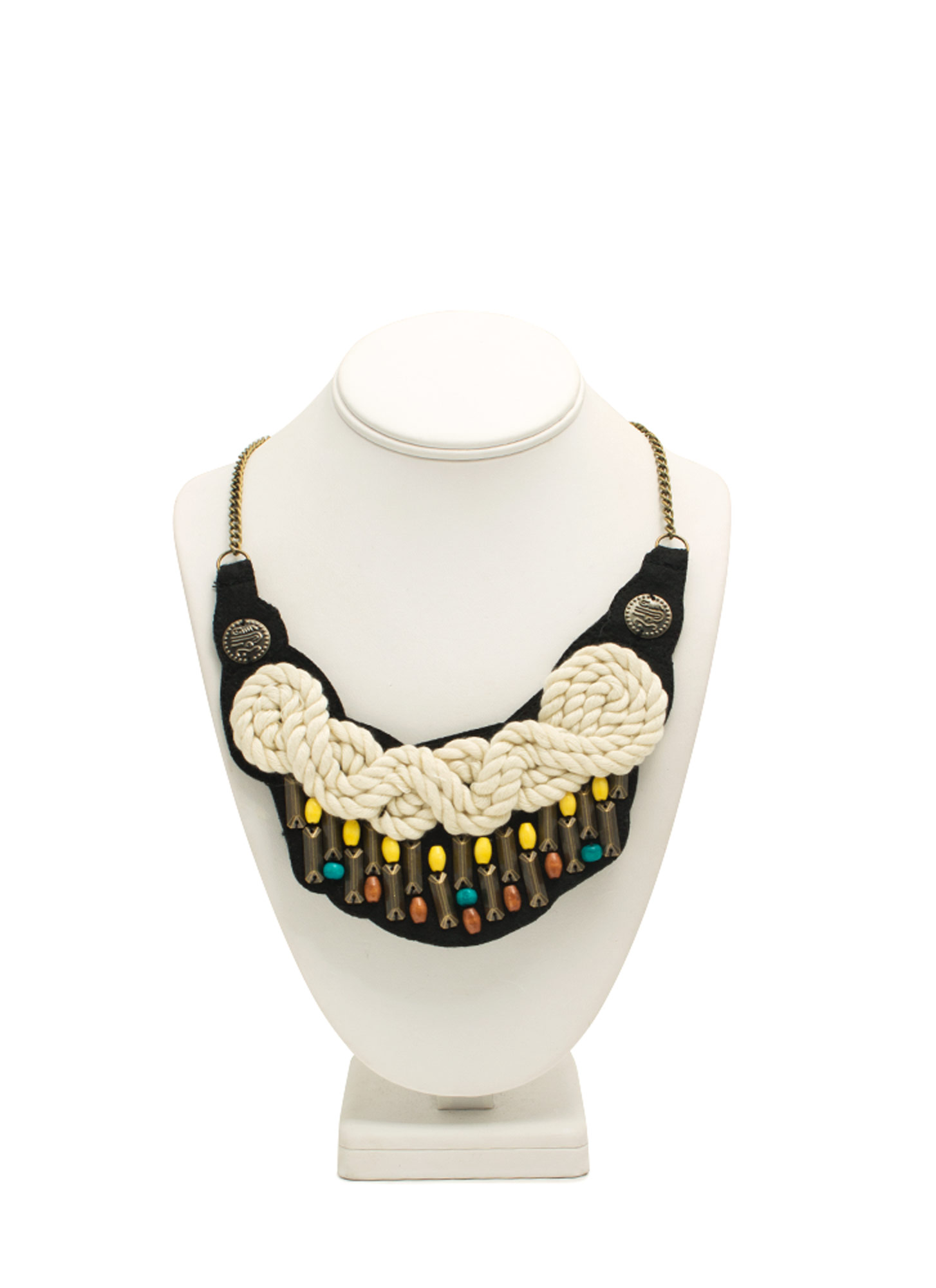 Knotted Rope Bib Necklace IVORYMULTI