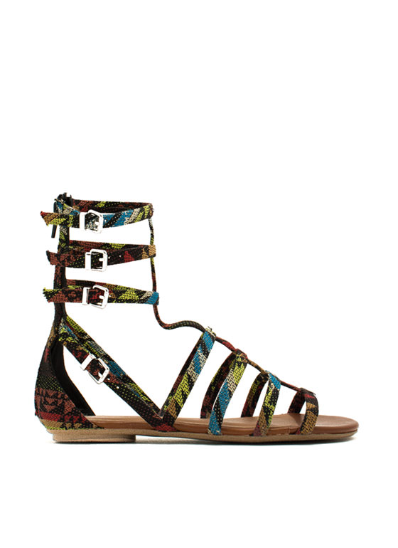 Tribal Print Gladiator Sandals BLACKMULTI