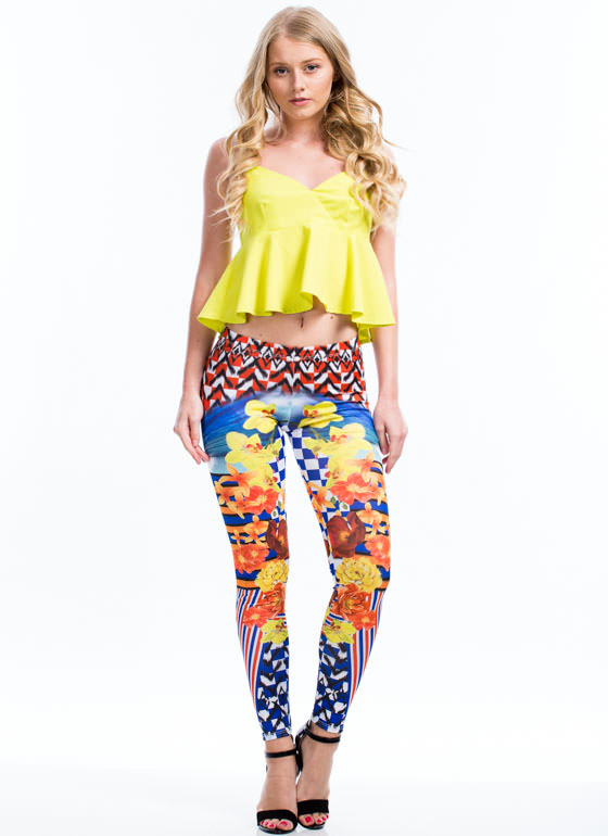 Check Out These Mixed Print Leggings BLUE
