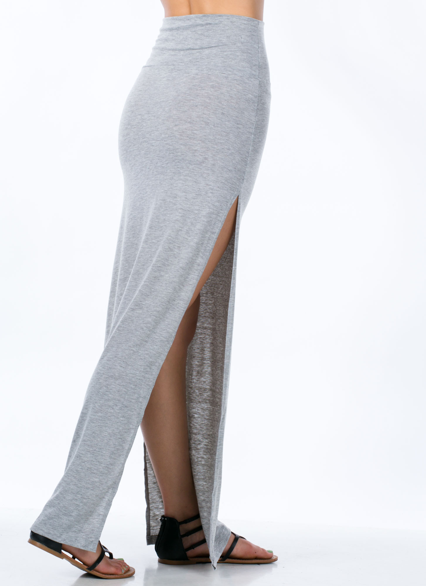 Double Trouble Slit Maxi Skirt HGREY