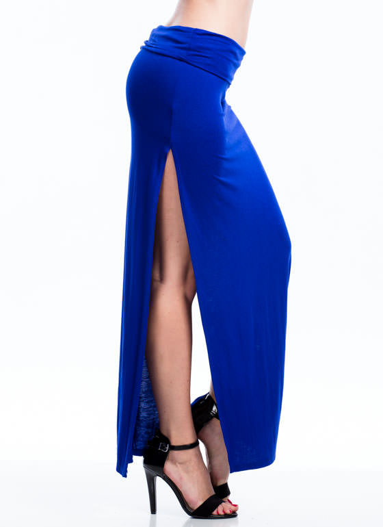 Double Trouble Slit Maxi Skirt ROYAL