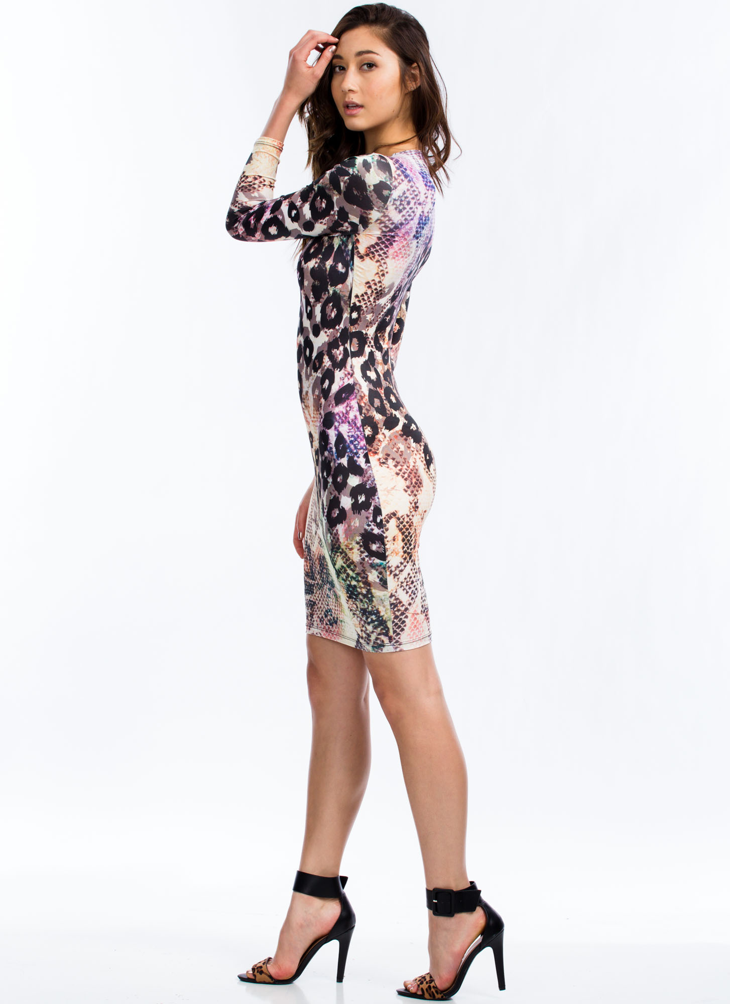 Wild Side Mixed Animal Print Dress PURPLEMULTI
