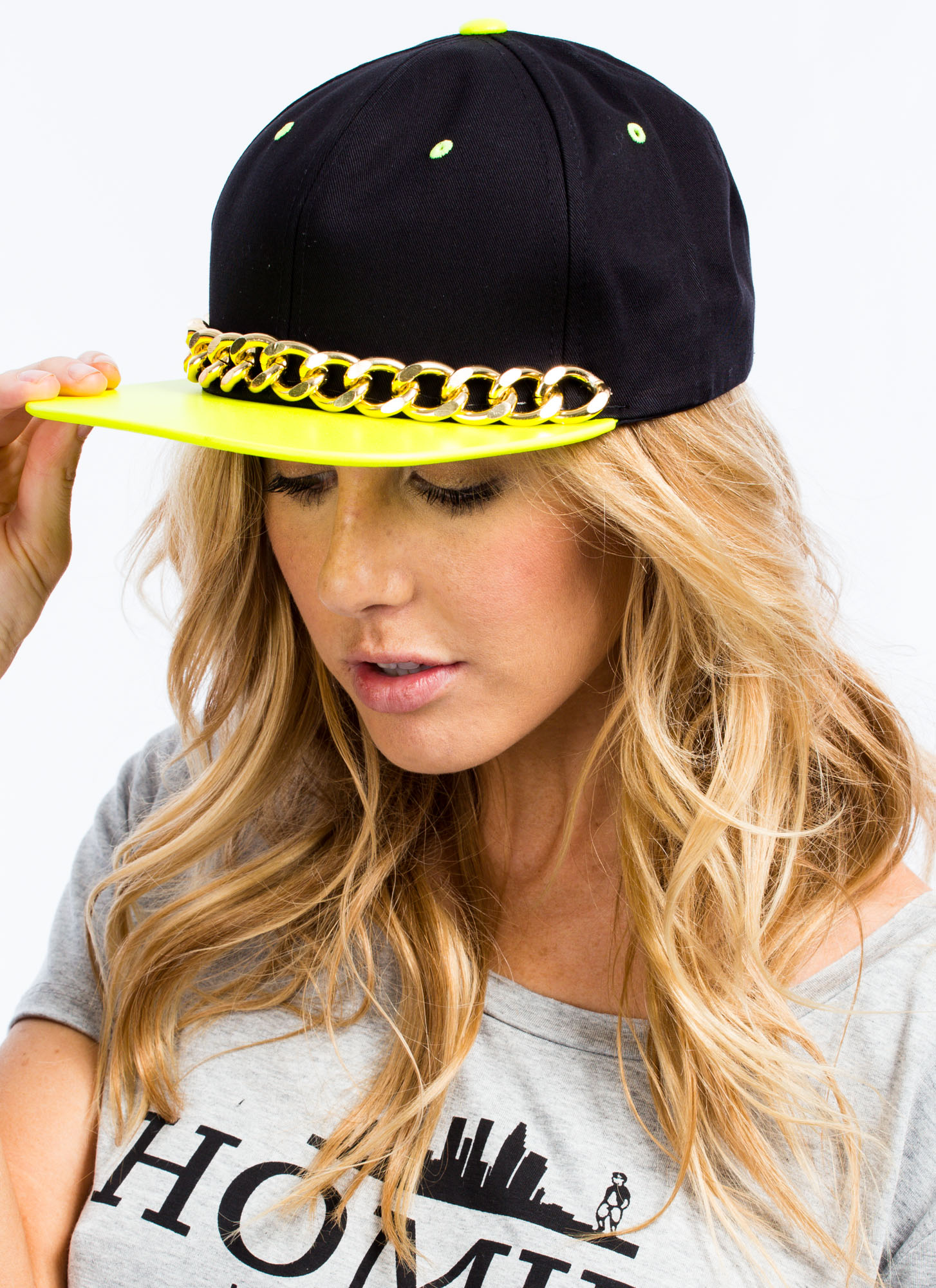 Neon N Chains Snapback Hat NYELLOWBLK
