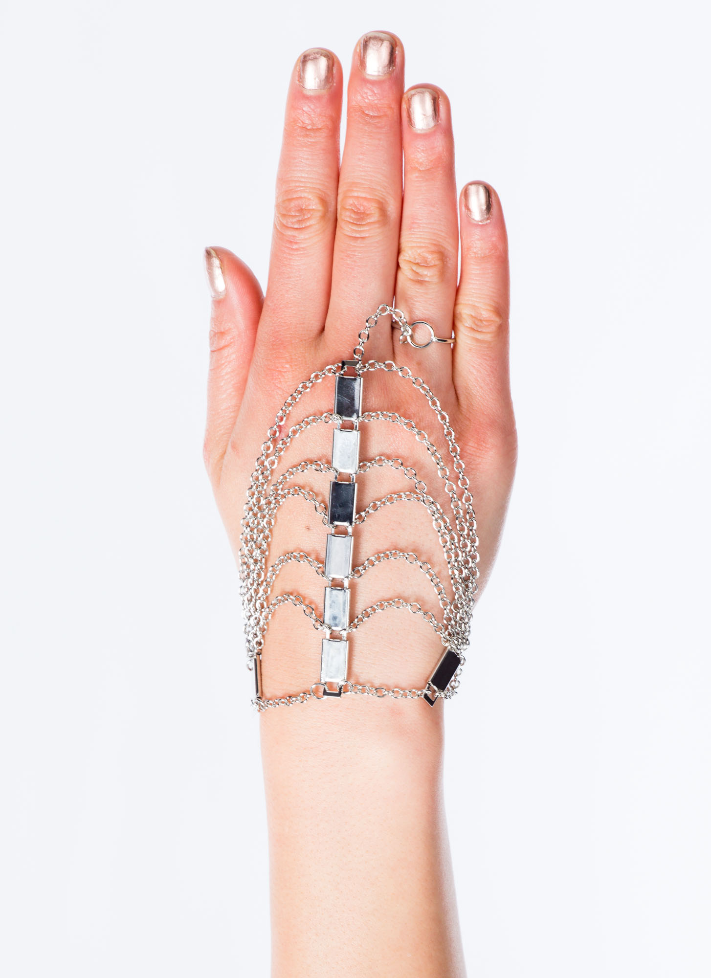 Strand Of Bars Layered Hand Bracelet SILVER