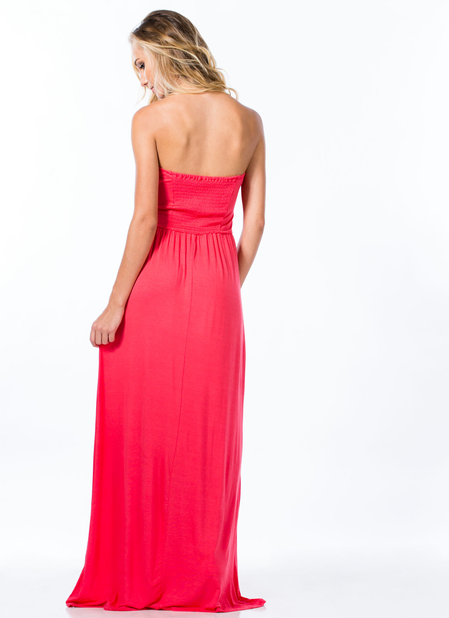 Tribal Ribbon Strapless Maxi Dress CORAL