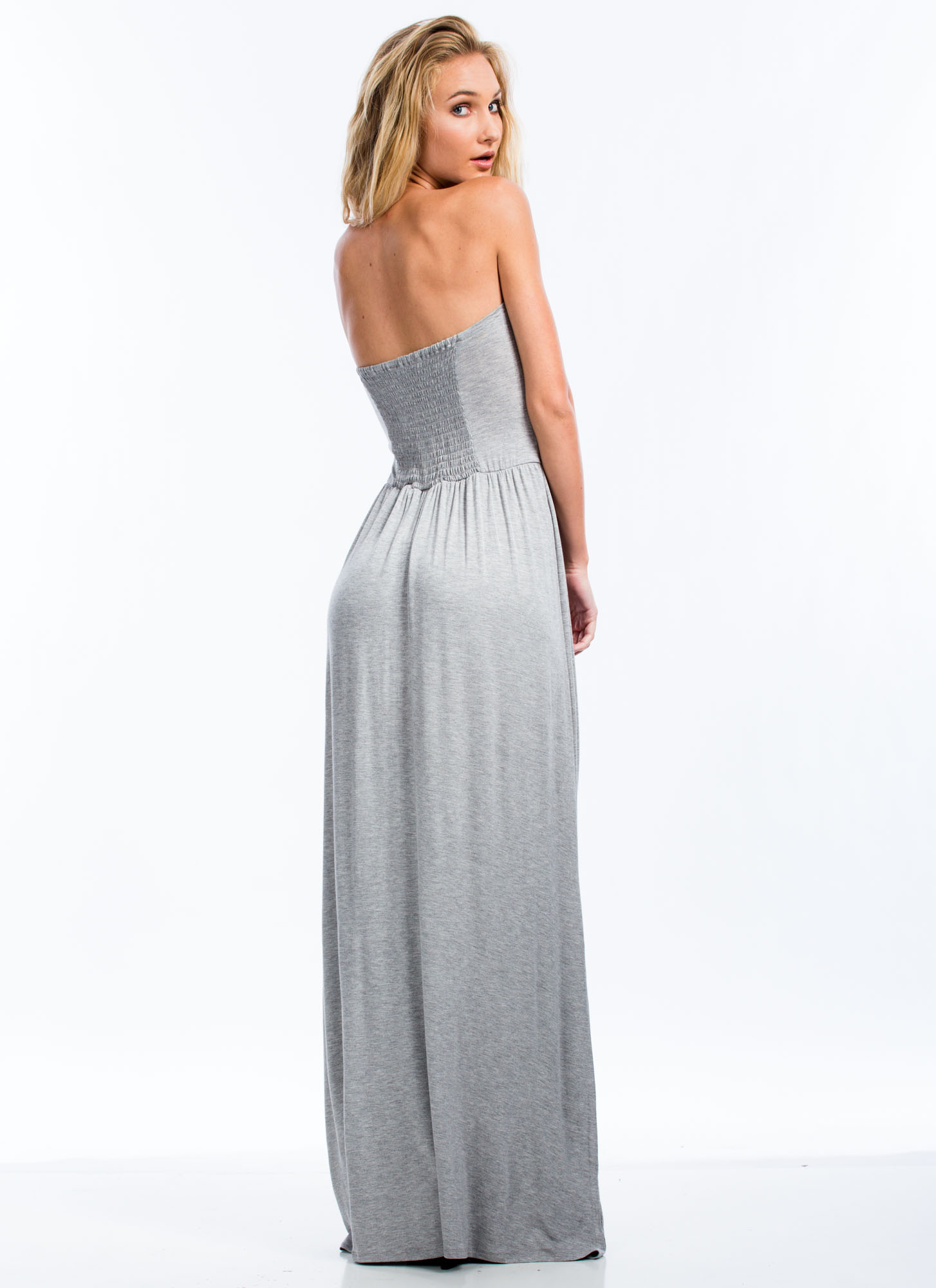 Tribal Ribbon Strapless Maxi Dress HGREY