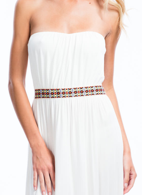 Tribal Ribbon Strapless Maxi Dress IVORY