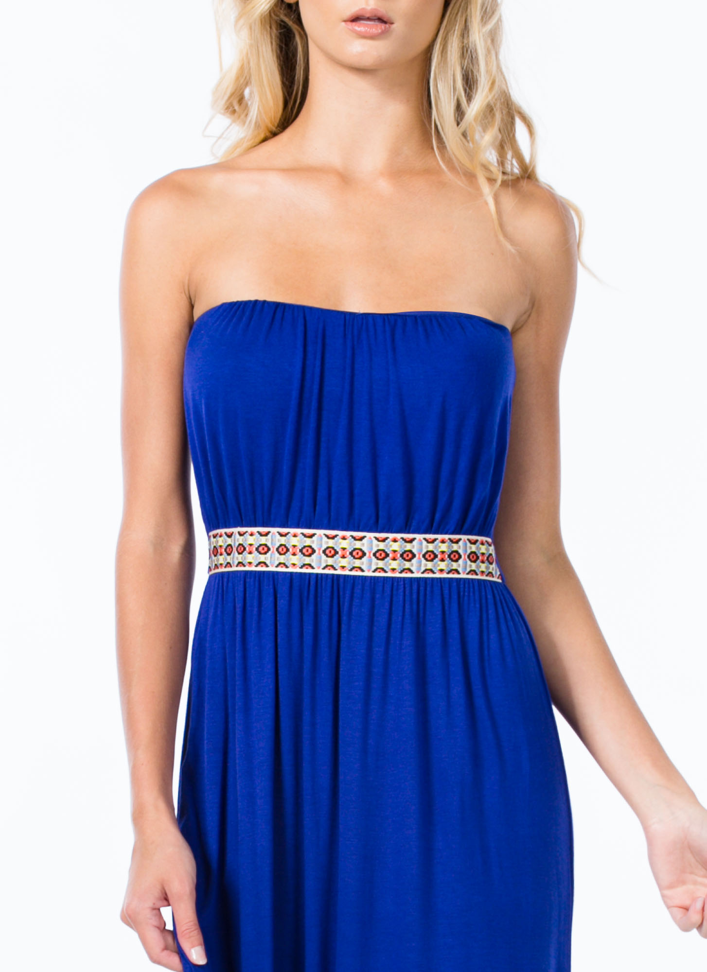 Tribal Ribbon Strapless Maxi Dress ROYAL