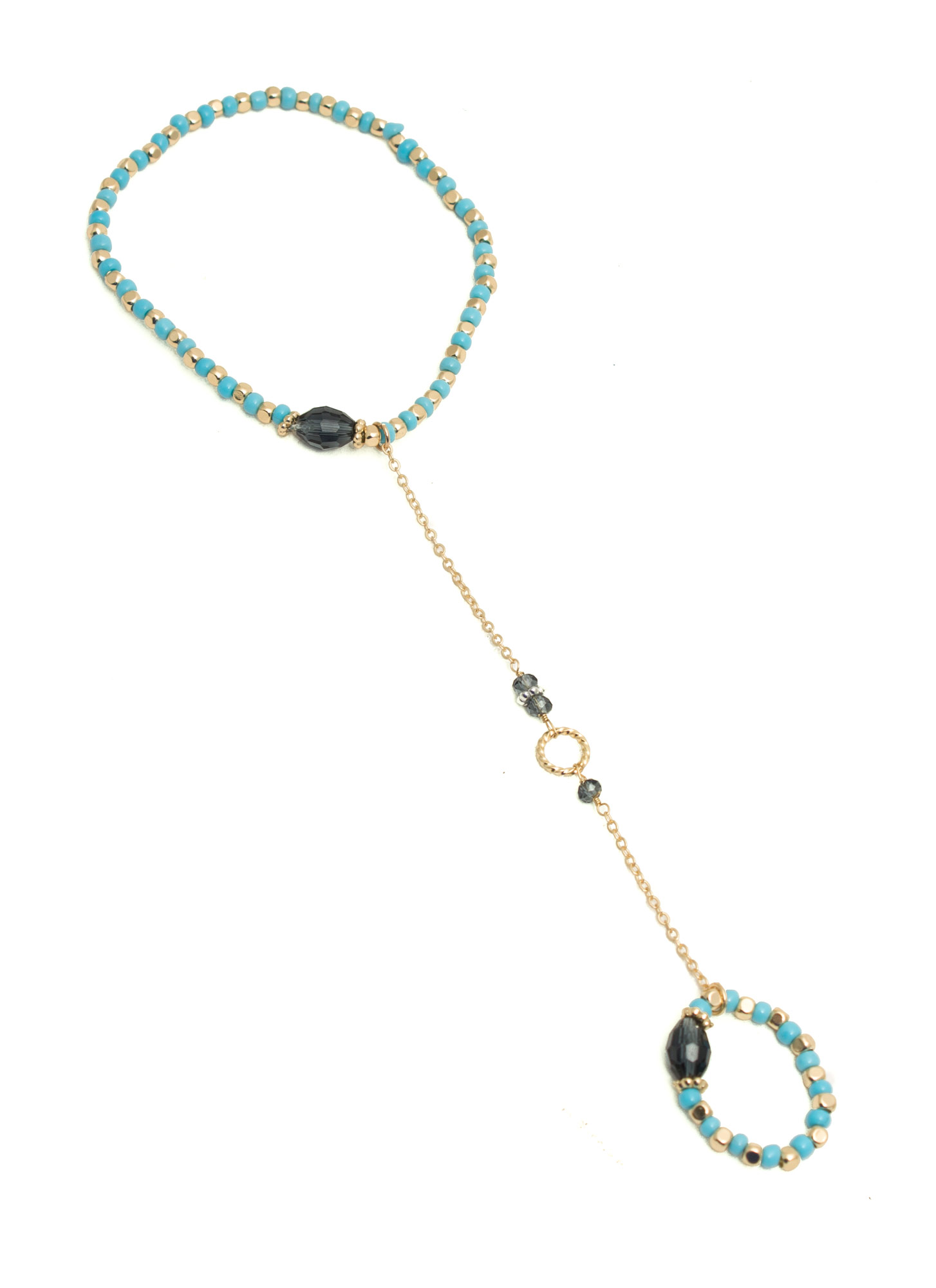Stretchy Beaded Hoop Hand Bracelet BLUEGOLD
