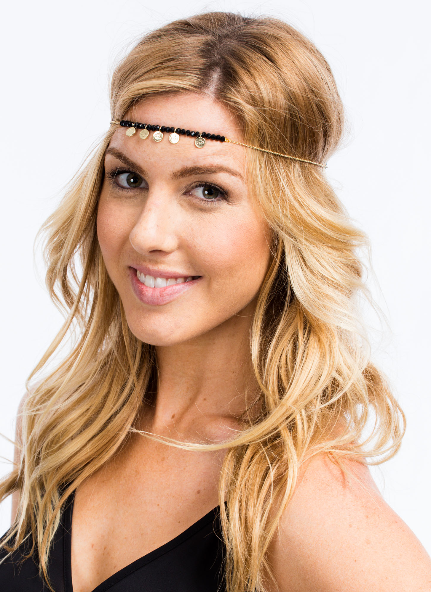 Beaded Faux Gem Coin Headpiece BLACKGOLD
