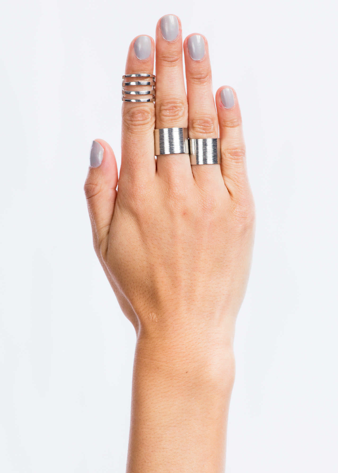 Brushed And Cut-Out Ring Trio SILVER