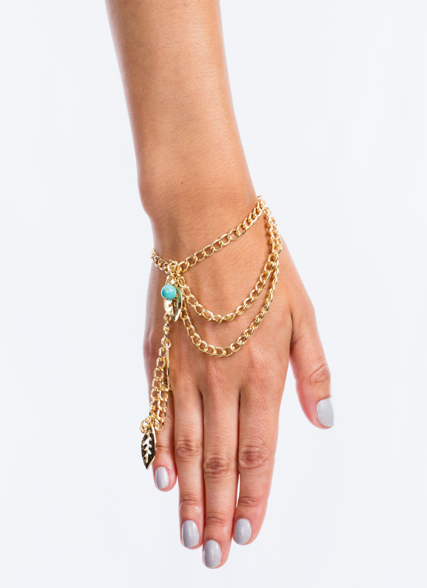 Leaf It To Me Hand Bracelet GOLDTURQ