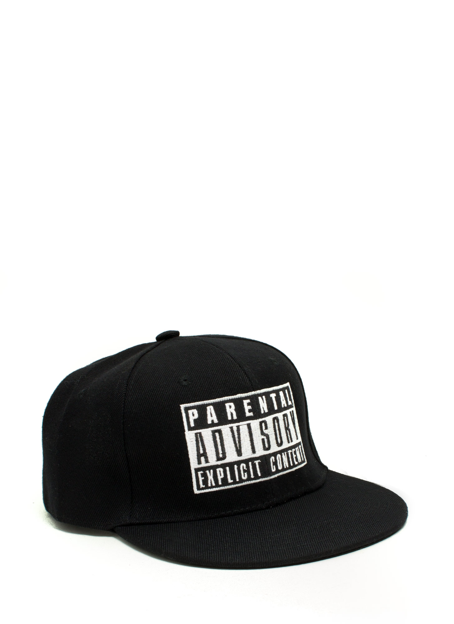 Parental Advisory Snapback Hat BLACKWHITE