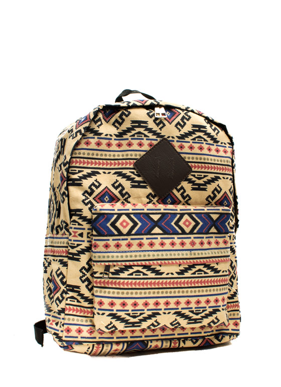 Tribal Travel Print Backpack BEIGEMULTI
