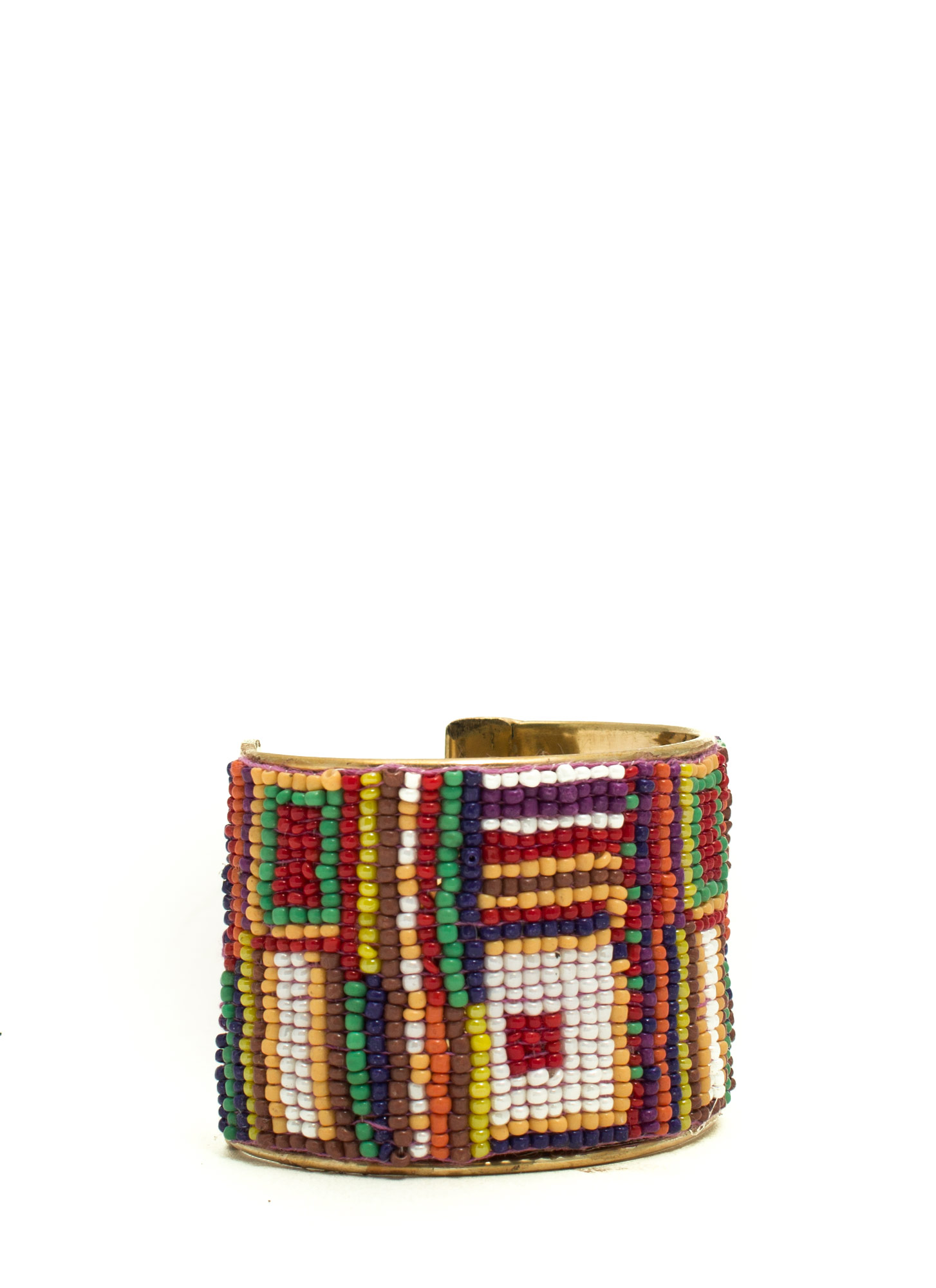 Abstract Squares Beaded Cuff MULTIGOLD