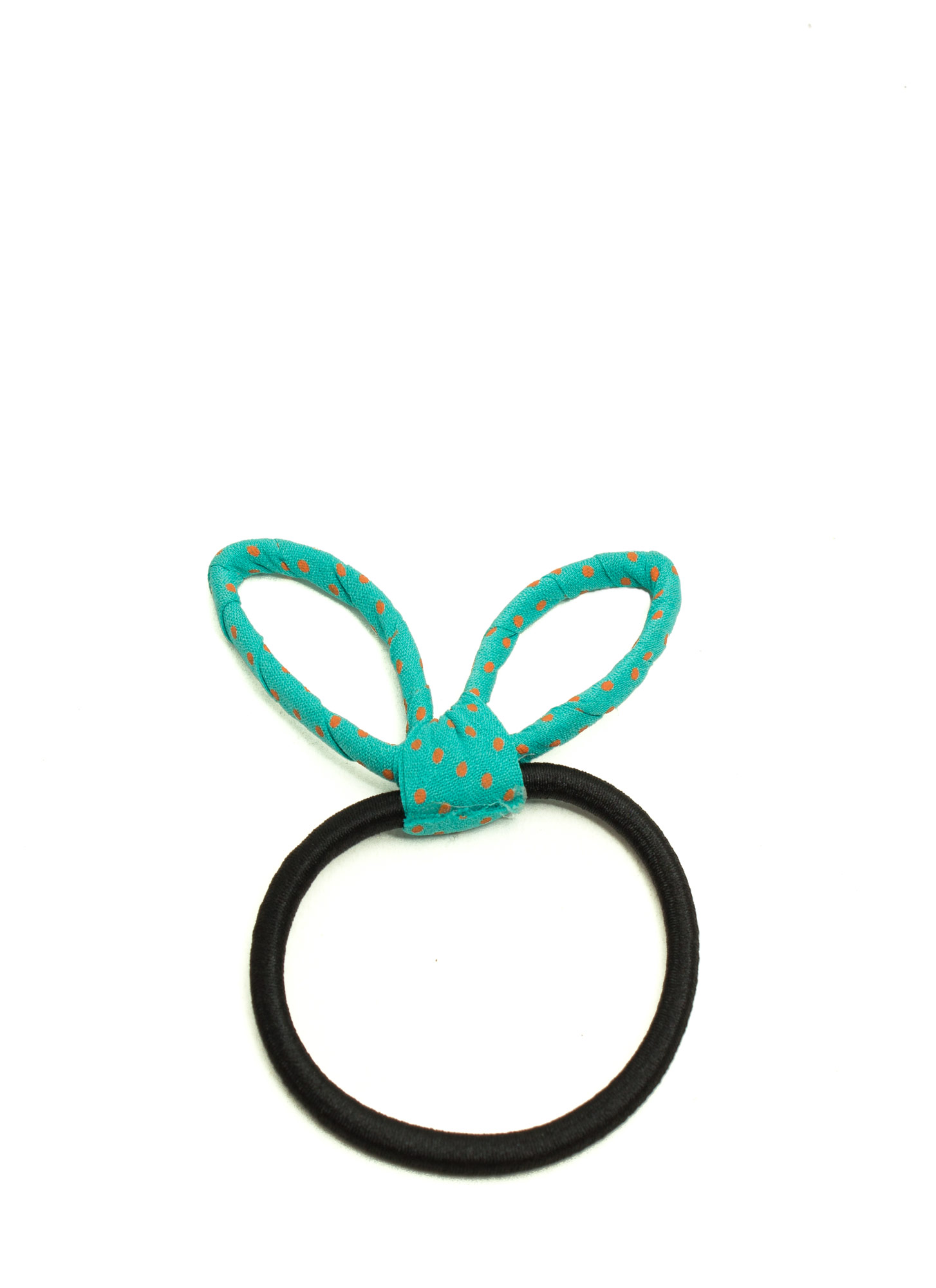 Polka Dot Bunny Ear Hair Tie TEAL