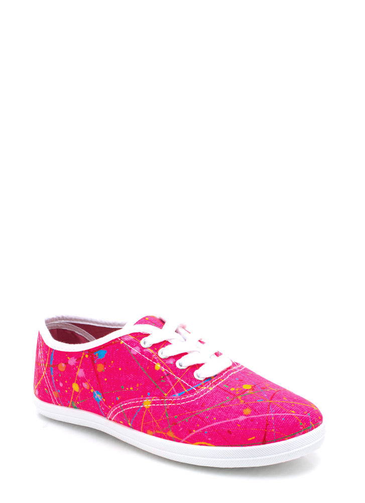 Mad Splatter Canvas Sneakers FUCHSIA