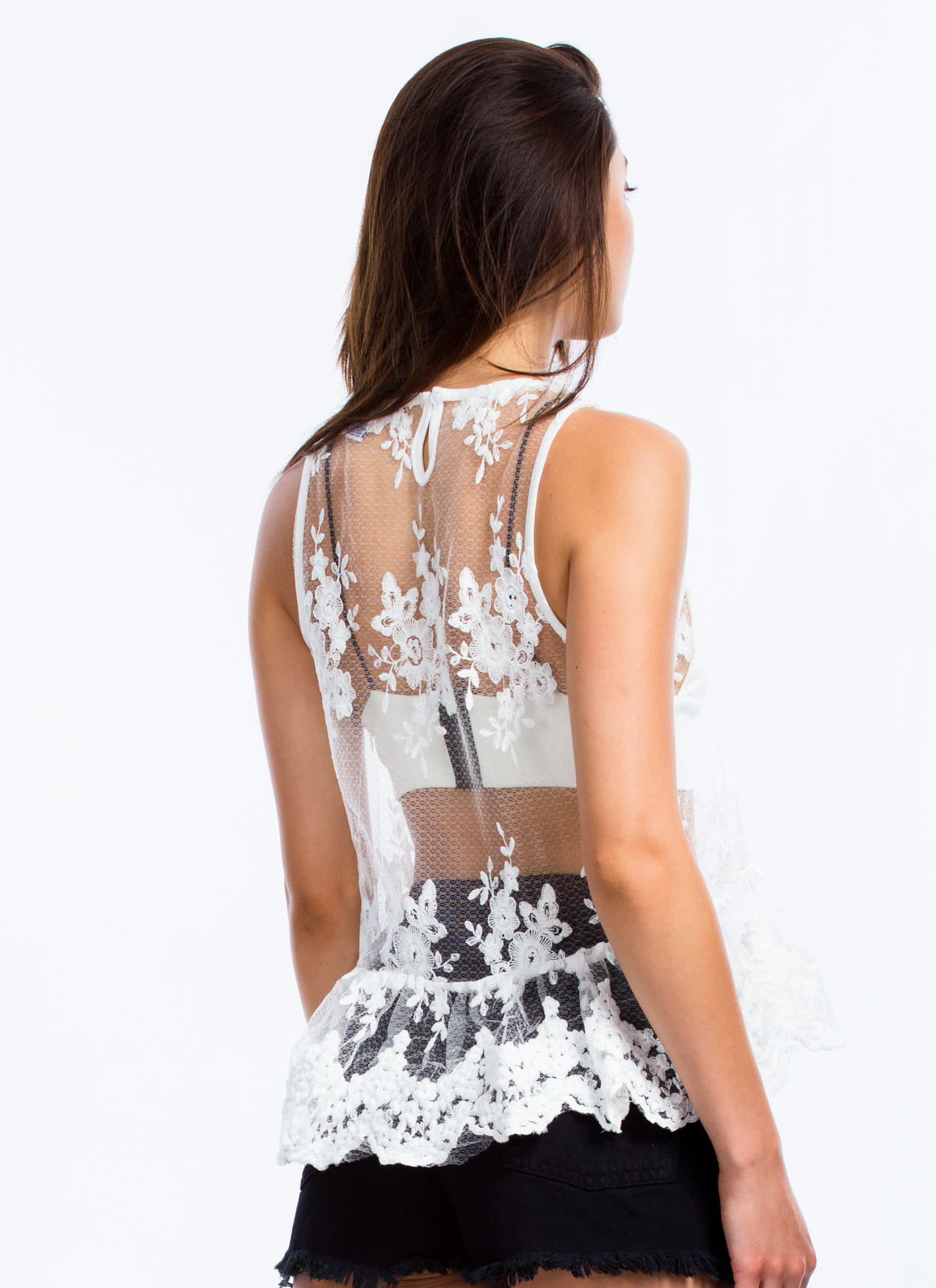 Scalloped Lace Embroidered Tank WHITE