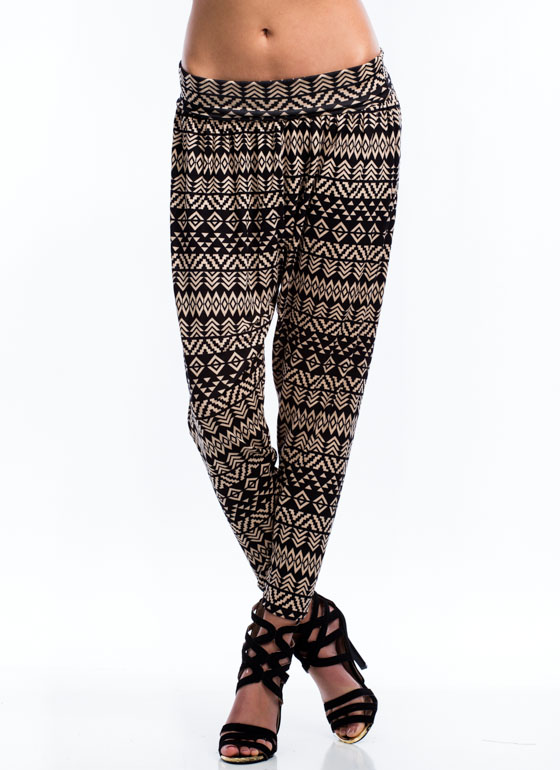 Geo Print Foldover Harem Pants BROWN