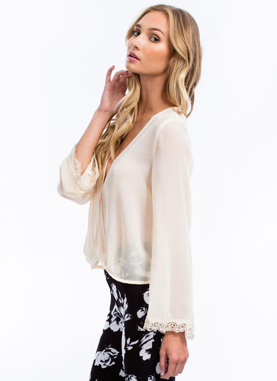 Ringing Bells Chiffon Twist Top CREAM