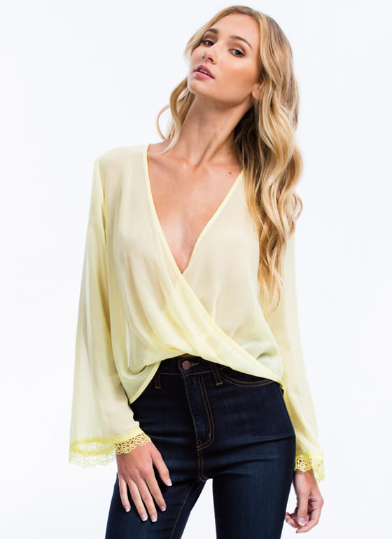 Ringing Bells Chiffon Twist Top YELLOW