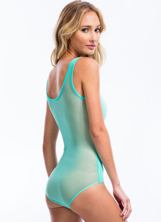 So Two-Faced Sheer Back Bodysuit MINT