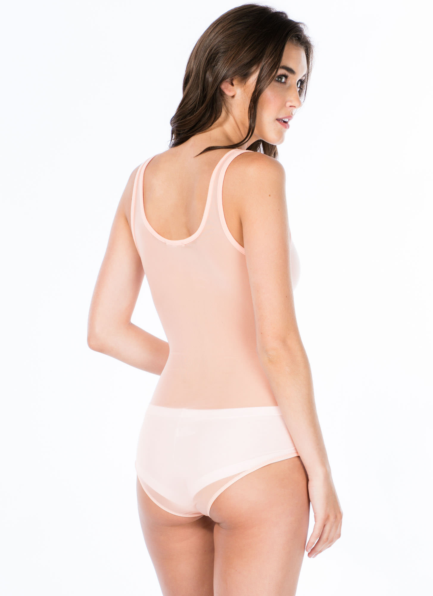 So Two-Faced Sheer Back Bodysuit PEACH