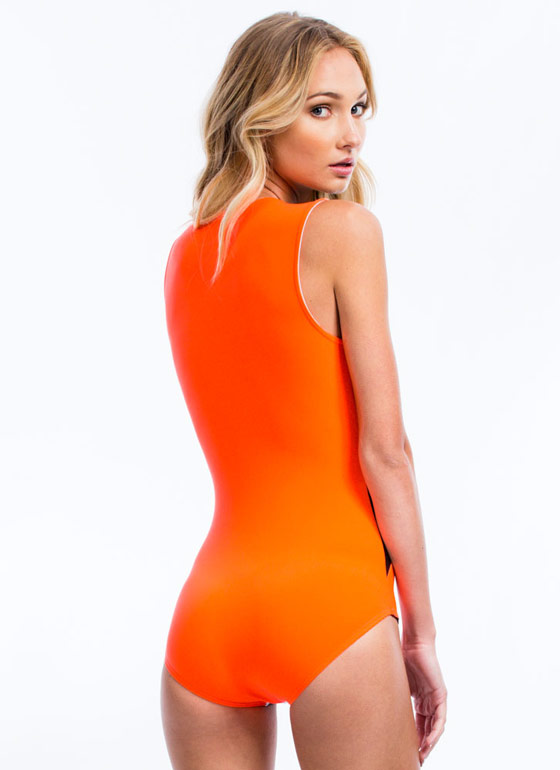 Just Tri It Triangle Panel Bodysuit NEONCORAL