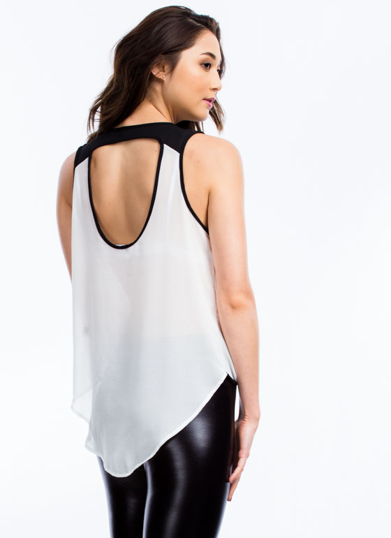 Lady Date Surplice Cut-Out Tank WHITE