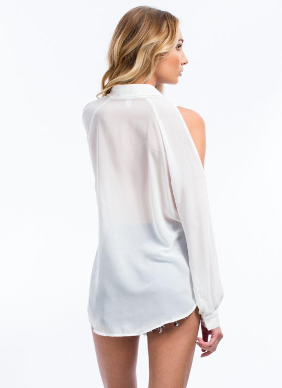 Just Shrug Sheer Cold-Shoulder Blouse WHITE
