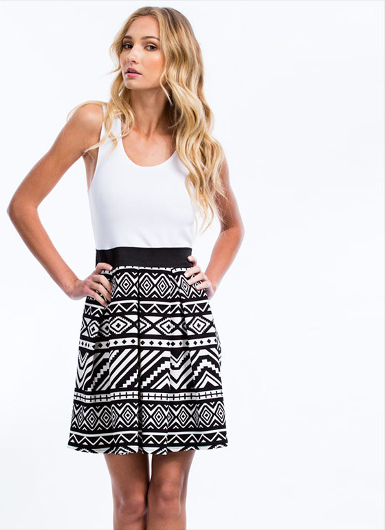 Tribal Chic Pleated Dress BLACKWHITE