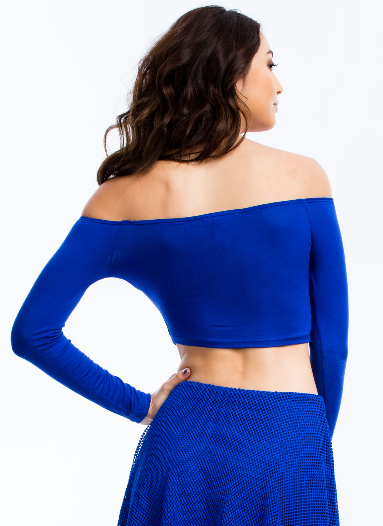 Shrug It Off-Shoulder Cropped Top ROYAL