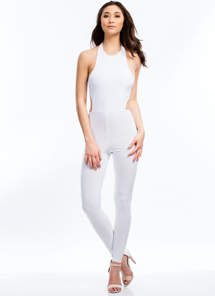 Smooth Criminal Halter Jumpsuit WHITE