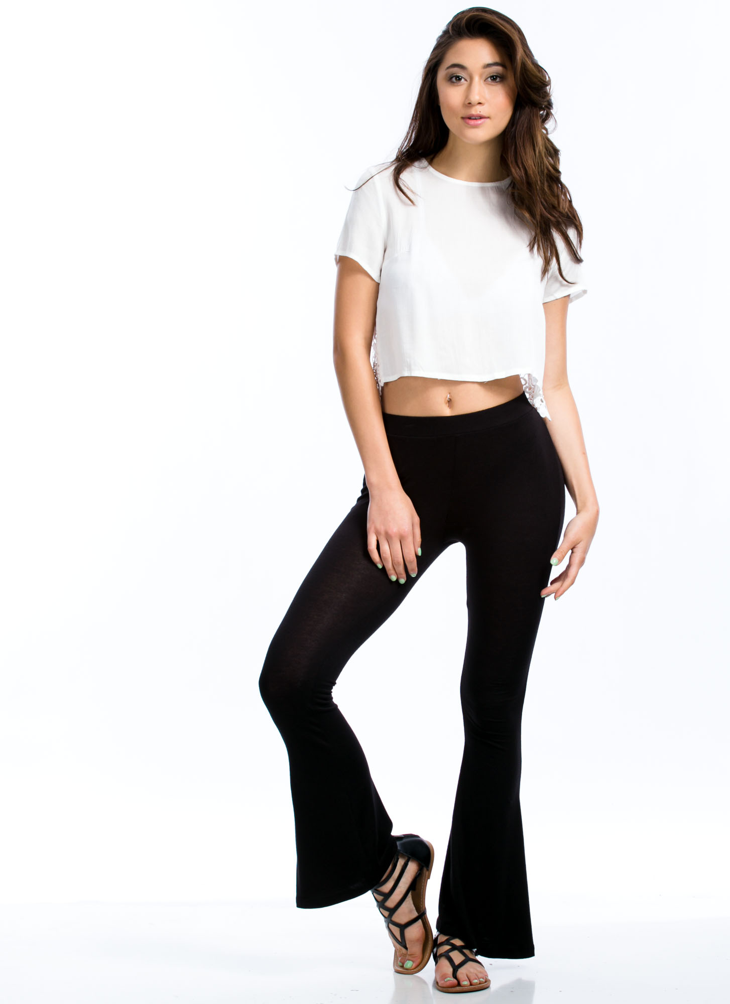 Play Flare Rayon Bell-Bottom Pants BLACK
