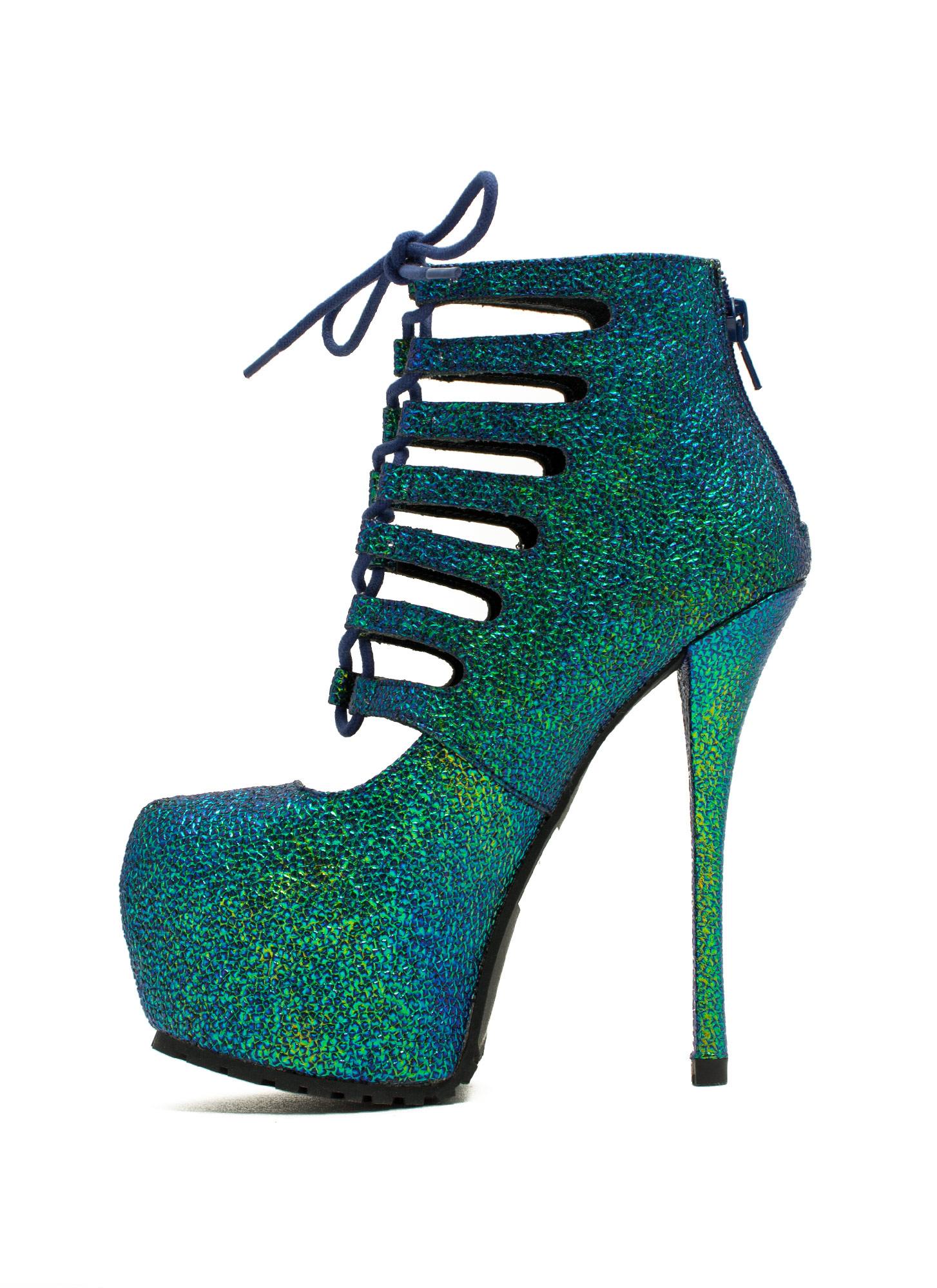 Steal The Sheen Pebbled Booties TEALMULTI