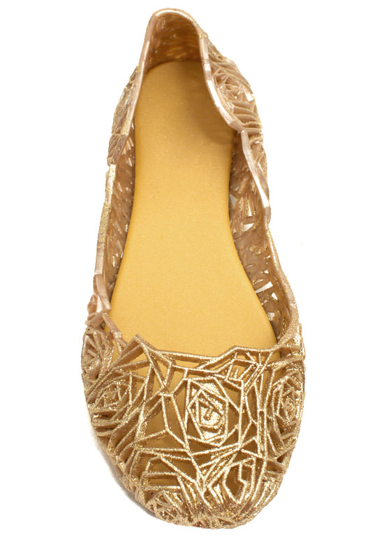 Rose And Shine Cut-Out Jelly Flats CHAMPAGNE
