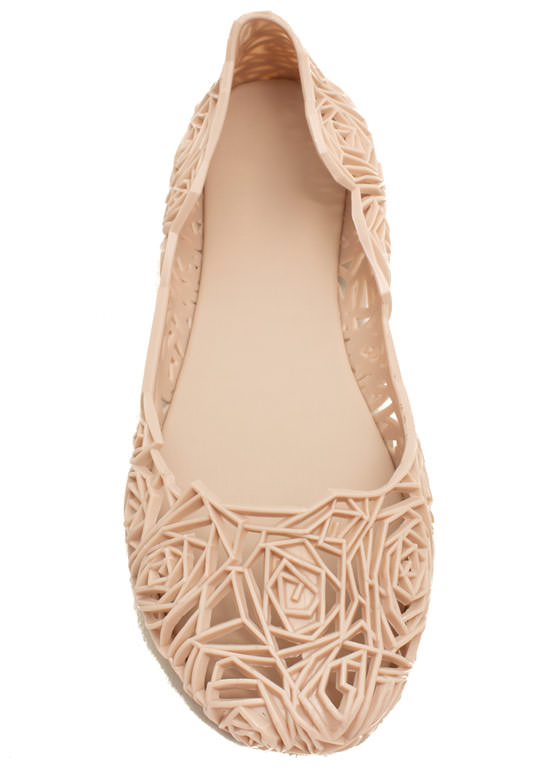 Rose And Shine Cut-Out Jelly Flats NUDE