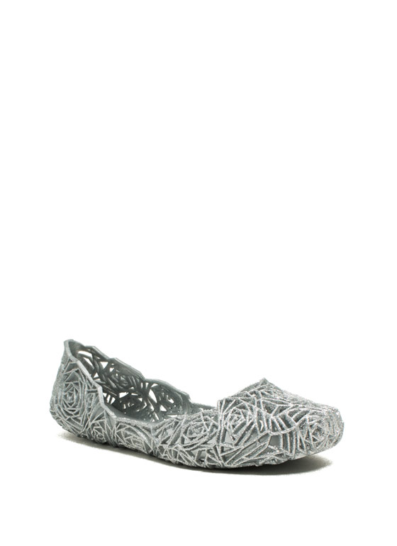 Rose And Shine Cut-Out Jelly Flats SILVER