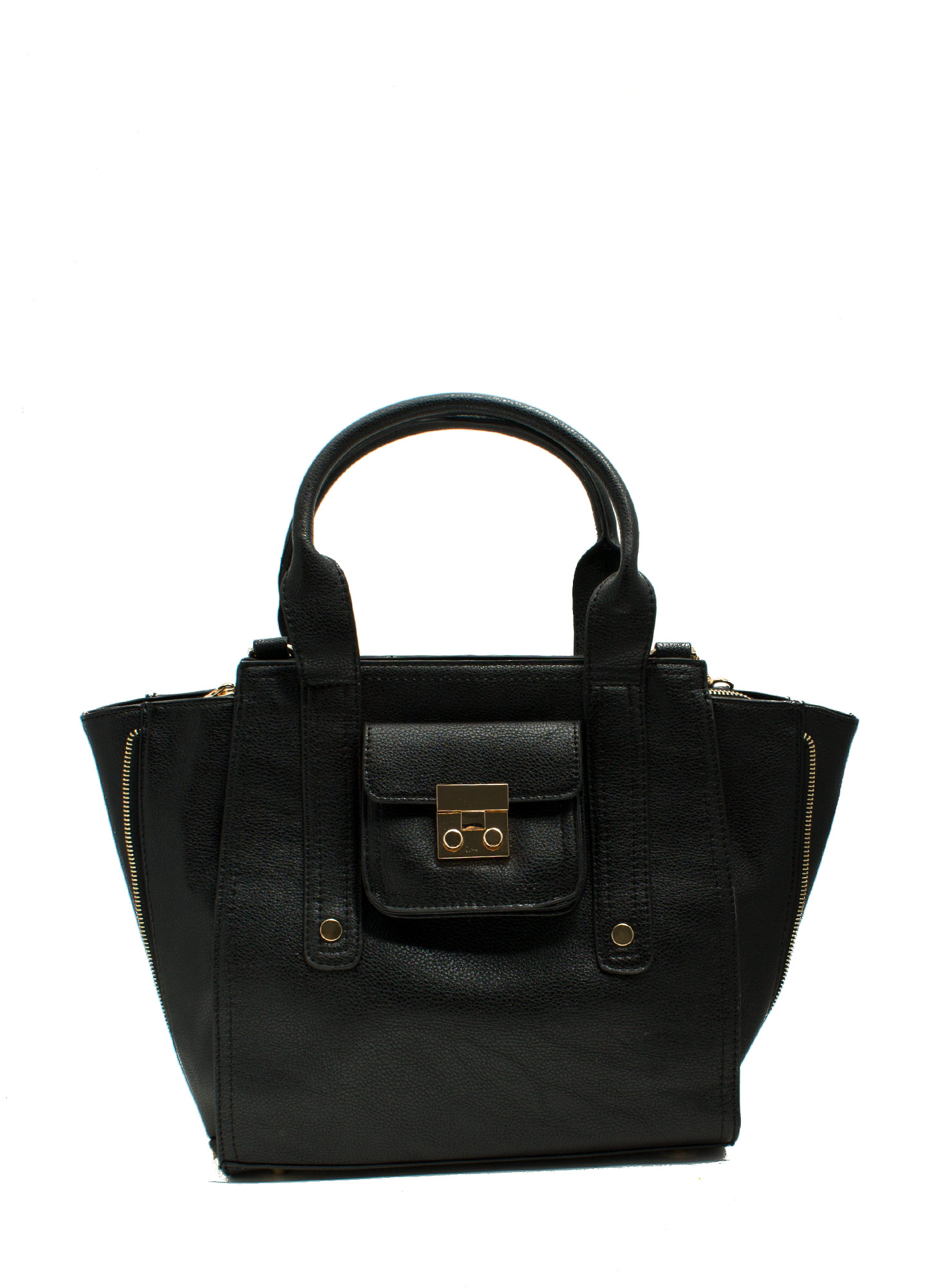 Faux Leather Double Zippered Bag BLACK