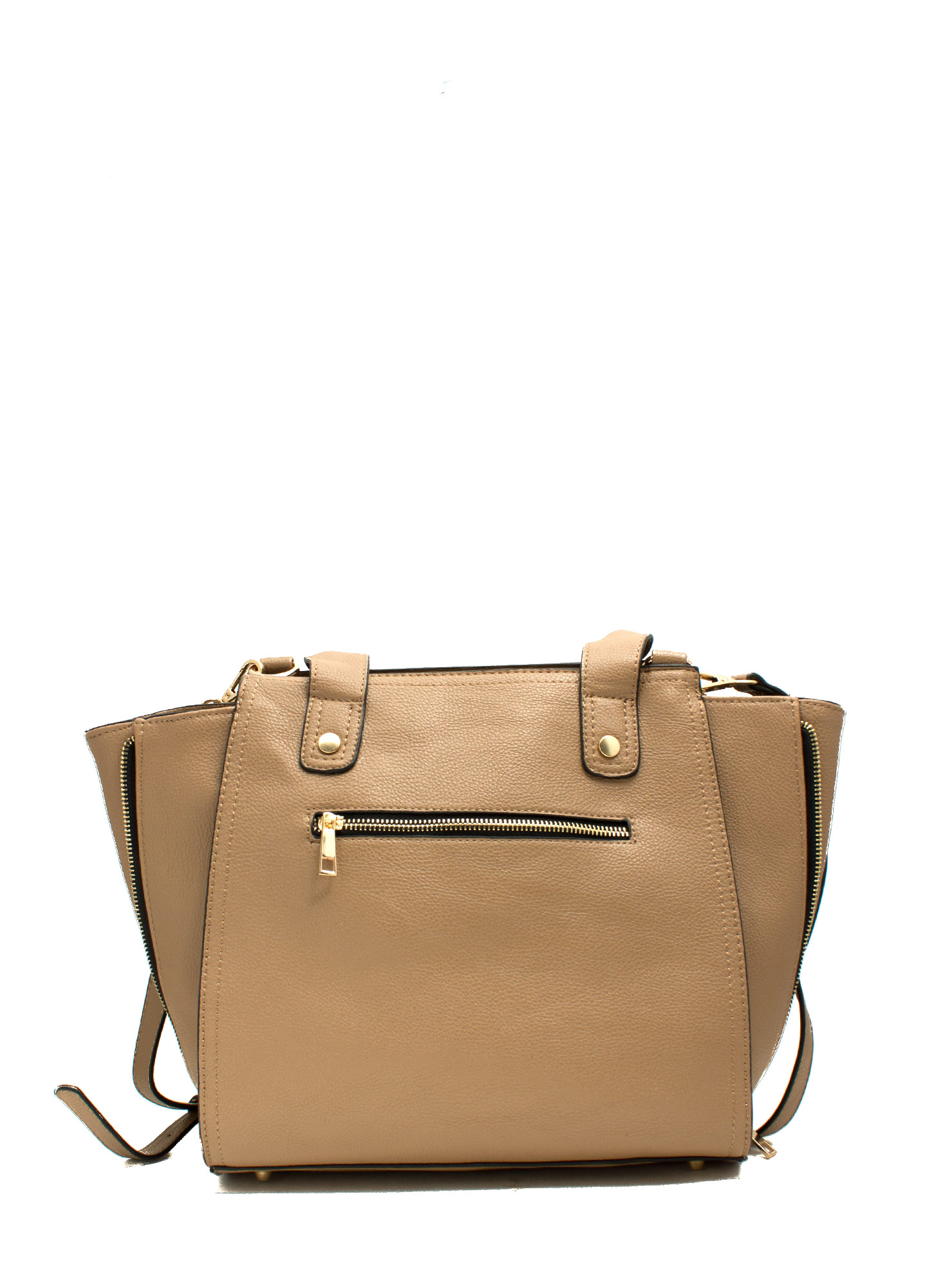 Faux Leather Double Zippered Bag TAUPE