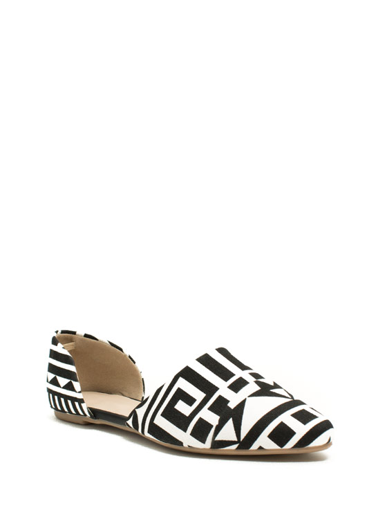 Take A Chic Break D'Orsay Flats BLACKWHITE