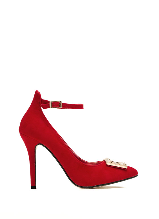 Hidden Edge Faux Pearl Buckle Heels RED