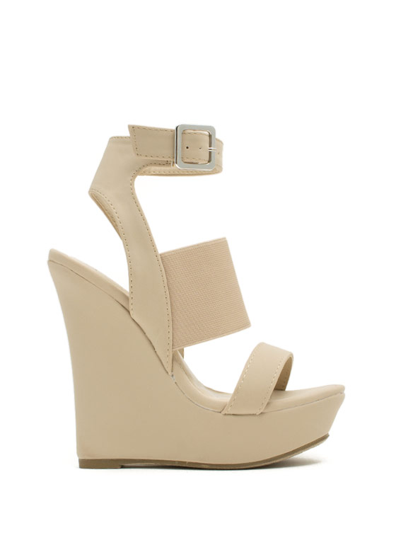 Pencil Me In Platform Wedges NUDE
