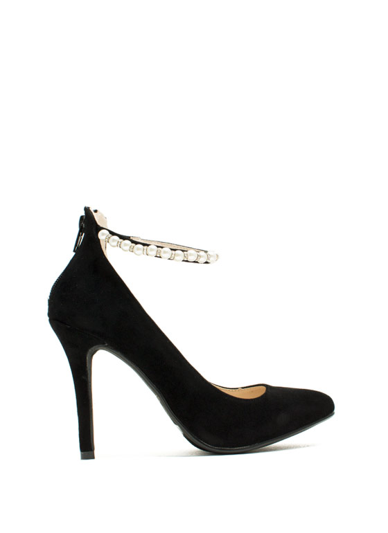 Pearly Chic Stiletto Heels BLACK