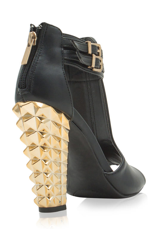 Rock This Way Spiky Cut-Out Heels BLACK