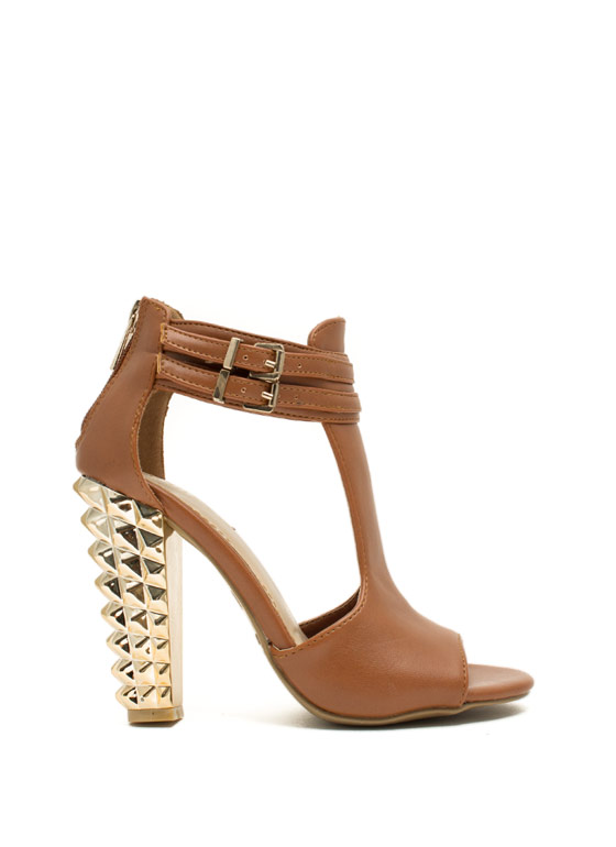 Rock This Way Spiky Cut-Out Heels CHESTNUT