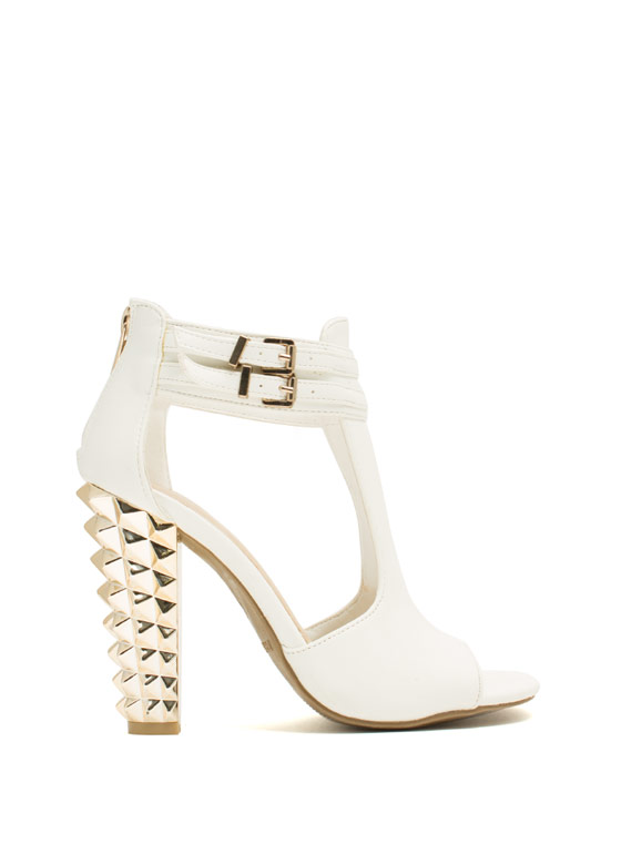 Rock This Way Spiky Cut-Out Heels WHITE