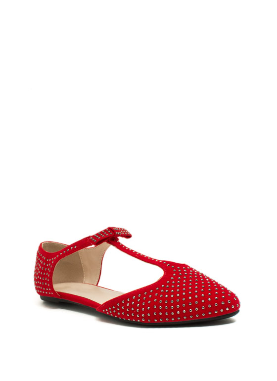 Sparkle N Bow T-Strap Flats RED