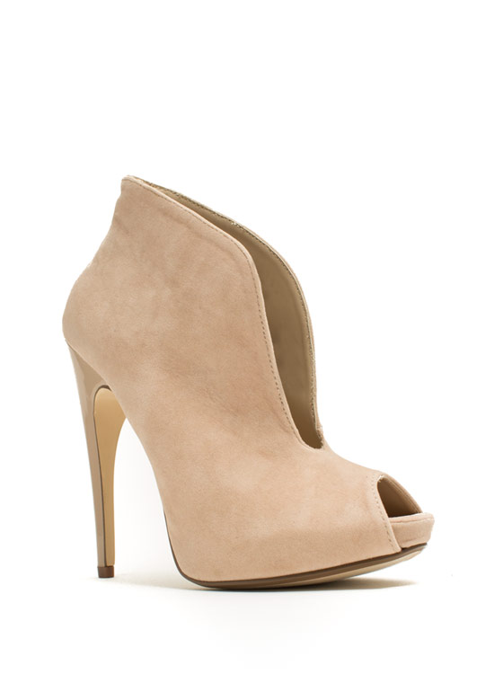 Take The Plunging Topline Booties NUDE